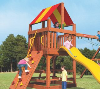 "Woodplay Tiger Tower Red and Yellow Vinyl Canopy 90"" X 45.25"""