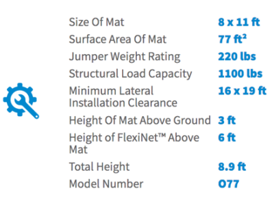 Springfree 8 x 11 ft Medium Oval Product Specifications