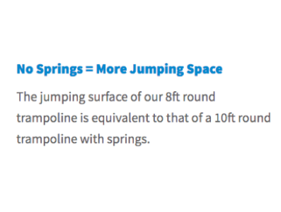 Springfree Trampoline no springs equal more jumping space.